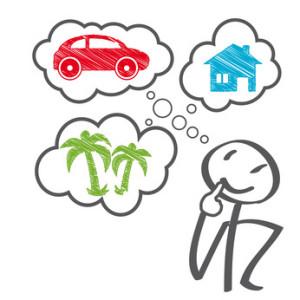 Bild mit Strichmänchen, über dem Blasen, die Ideen symbolisieren stehen. Es zeigt wie die Person über Domainnamen nachdenkt.